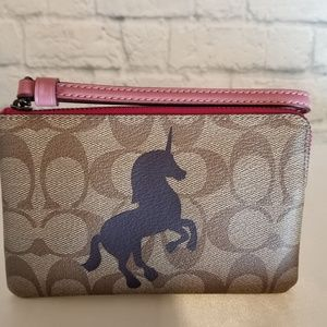 Coach Unicorn Signature Corner Zip Wristlet Wallet